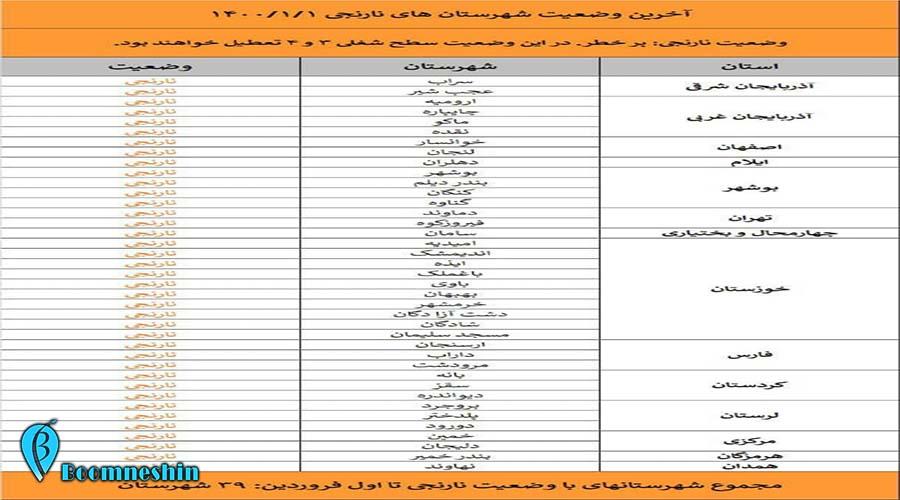 اسامی استان ها و شهرستان های در وضعیت قرمز و نارنجی 1یکشنبه 1 فروردین 1400.jpg
